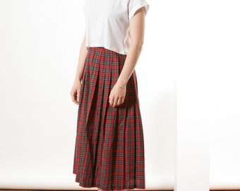 Maxi Accordion Skirt / Red Plaid Fall Skirt / High Waisted Long Skirt