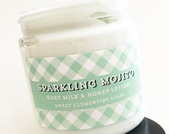Sparkling Mojito Lotion - Goat's Milk and Honey Hand and Body Lotion - Hand Cream - Body Cream - Moisturizer