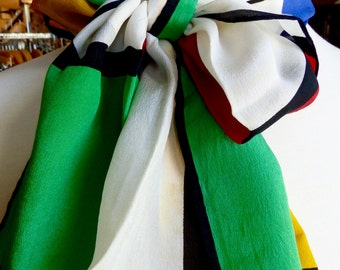 Vintage 1980s Silk Anne Klein long Color Block Scarf-Super soft and silky!  #R812a