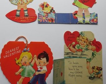 Vintage Childrens Valentine Day Cards Lot-Ephemera-Mixed Media-Paper-Crafts-Scrap Booking