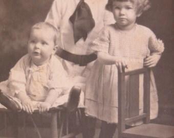 Antique Vintage Cabinet Post Card-3 Siblings-1910-Tiger Rug on Floor