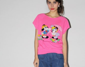 Vintage 1980s Disney Pink Mickey Mouse Minnie Mouse Novelty Sweater - Vintage Minnie Mouse Sweater - Vintage Mickey Mouse Jumper  - WT0218