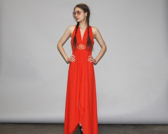 Vintage 1970s Red Disco Godess Hippie Maxi Dress - Vintage 70s Red Maxi Dress   - WD0700
