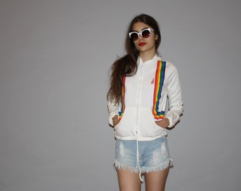 1980s Vintage White Rainbow Graphic Hooded Hoodie Sweatshirt Jacket - 1980s Rainbow Jacket - Vintage Hoodie Jackets  - WO0652