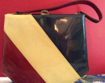 Vintage 1940s 1950s Purse Handbag LEON Of California Label Maroon Butter Cream Blue