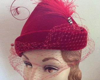 Vintage 1950s Hat DEEP RED Velvet Veiling Feather Rhinestones 2 Hat Pins Robin Hood Look