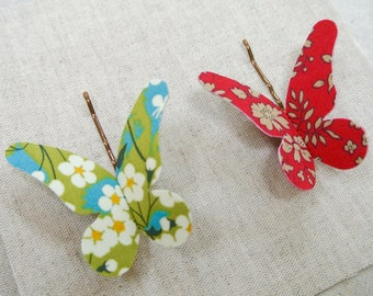 Set of Two Christmas Butterfly Hair Grips in Liberty of London ~ Christmas Rich ~ FREE UK DELIVERY