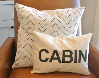 CABIN Pillow Cover/ 12x16/ Natural Canvas Fabric