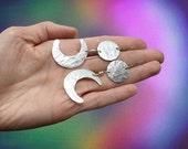 moon earrings, crescent moon dangles, metal moon earrings