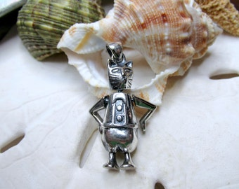 Sterling Silver 3D Movable Kitty Cat Pendant Charm 6.13g