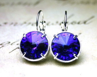 French Leverback Crystal Earrings in Purple Heliotrope - Swarovski Crystal Rivoli Stones in Bright Silver - Violet Round Crystal Earrings