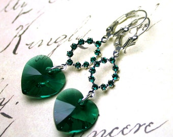 ON SALE - Emerald Green Rhinestones and Hearts - Long Crystal Heart Earrings in Green - Swarovski Crystal and Sterling Silver Leverbacks