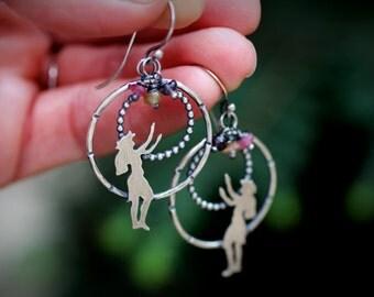 Hula Girl Earrings - Recycled Sterling Silver, Hula Dancer, Hula Halau,Hawaiian Jewelry, Island Girl, Spinel Beads, Beach, Polynesian
