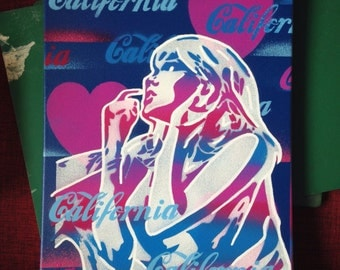 California love 2 painting,canvas,blue,pink,street,stencil art,spray paint,comic woman,hearts,urban,graffiti ,multicoloured,artwork,pop art