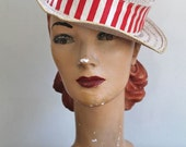 vintage 1950s straw hat - CARNIVAL red & white boater hat / child or adult XS