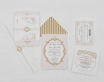 Vintage French Baroque Wedding Invitation Sample ,Wedding Invitations,Fleur De Lis Wedding Invitations,French Wedding,Vintage Modern Invites