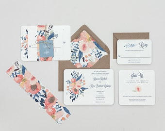Dusty Blue and Blush Floral Wedding Invitations,Rustic Modern Floral Wedding Invitation Set,Rustic Floral Wedding Invite,Blue Floral Wedding