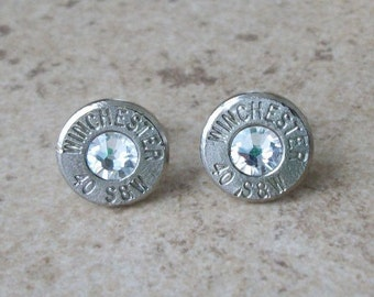 Winchester 40 S&W Nickel Bullet Stud Earring, Clear/Diamond Swarovski Crystal, Surgical Steel Post - 344