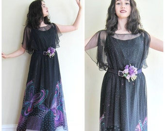Vintage 1970s Sheer Chiffon Print Party Dress  / 70s Maxi Dress with Butterfly Design Flutter Sleeves / Medium to Large