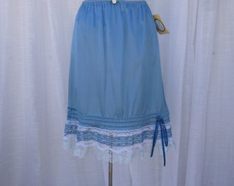 Slip Skirt Small Turquoise Blue Glam Garb Handmade USA Romantic Skirt Victorian Steam-punk Vintage Hand Dyed Retro Rockabilly Chic Boho