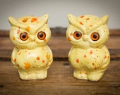 Retro Owls Shakers, Salt & Pepper, Yellow, Glass Eyes, Vintage 60s-70s