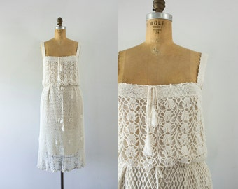 1970s California Vineyard cream knit dress / 70s crochet beauty