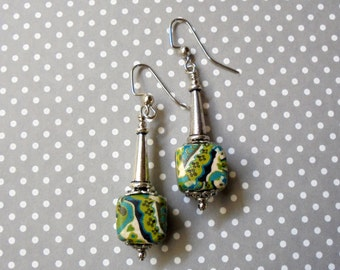 Aqua, Teal, Chartreuse and Ivory Earrings (2425)