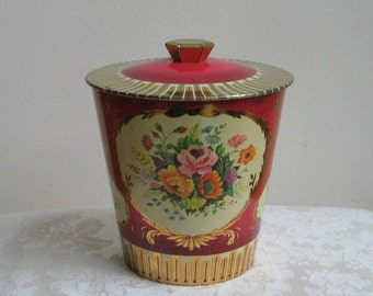 Vintage Tin Cranberry Pink With Flowers & Metallic Gold Made in England, Large Round English Floral Metal Box Container, Victorian Cottage