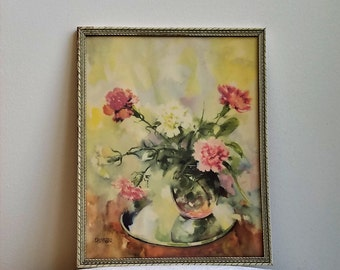 Vintage Flowers In Vase Floral Still Life Watercolor Litho Wall Art Print by Florence Kroger in Embossed Wood Frame 12 x 15, Pink Off White