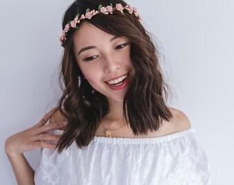 pink flower girl children's flower crown // pink rose & berry / wedding flowergirl kids size floral hair wreath headpiece, nature bohemian