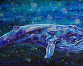 Original Acrylic Painting - Big Blue Whale