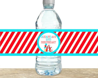 Circus Water Bottle Labels, Circus Birthday Party , Carnival Water Bottle Labels, Printed Water Bottle Labels, Printable