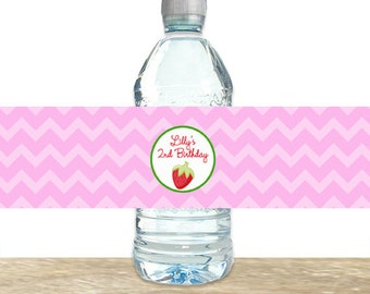 Strawberry Water Bottle Labels, Strawberry Birthday Party , Girls Strawberry Water Bottle Labels, Printed Water Bottle Labels, Printable