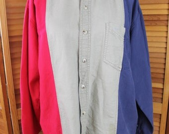 Vintage 1990s County Seat Western Color Block Button Front Shirt