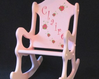 Wooden Rocking Chair with Lady Bugs