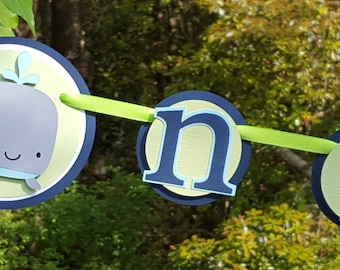 Silly Whale 1st Birthday Photo Banner or Photo Display in Navy Blue and Green