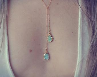 AQUA LARIAT /// Turquoise Lariat Necklace /// Gold