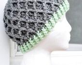 Crochet Lattice Hat - Grey and Light Green