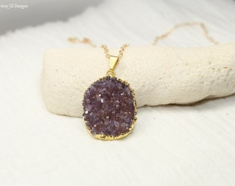 Purple Druzy Necklace, Druzy Jewelry, Burgundy, Purple Drusy Pendant, Gemstone Necklace, Druzie, Drusy
