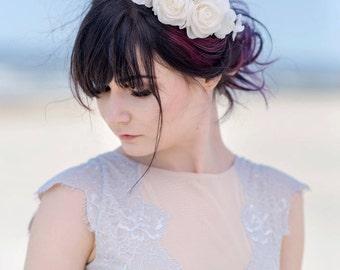 Bridal flower crown, Rustic wedding hair accessories, Rustic bridal hairpiece, Bridal wedding crown