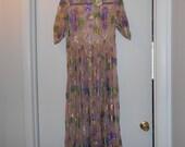 Reserved for pot&panty= SILK METTALIC Vtg DRESS MIDi MaXI DReSS floral pattern in mettalic all silk lt pink sz Xs s