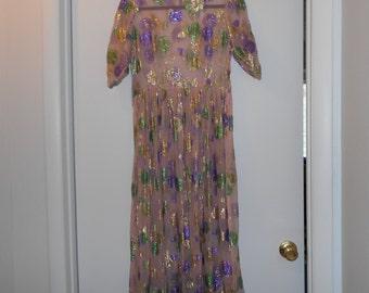 SILK METTALIC Vtg DRESS MIDi MaXI DReSS floral pattern in mettalic all silk lt pink sz Xs s