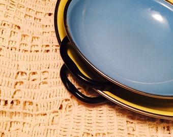 Vintage Enamelware Sizzler Pans,  Set Two Nesting Pans,  Yugoslavia 1960s