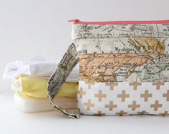 diaper and wipes clutch -- vintage map