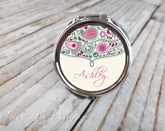 Bridesmaid Gift Personalized Compact Mirror- Paisley with Thistle Accent