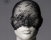 Lace mask / Versatile black lace mask / full face lace veil or half mask or lace turban headband / Pseudo blindfold
