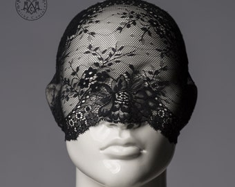 Lace mask / Versatile black lace mask / full face lace veil or half mask or lace turban headband / Pseudo blindfold