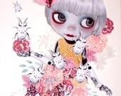 Friends N.1. Original OOAK paper cutting artwork. Mixed media Collage. Blythe illustration. Dolls Artwork
