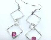 Sterling Silver Diamond Shape Drop Earrings