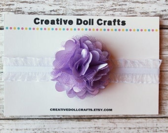 Baby Doll Headband Purple Posy Flower, 15 Inch Doll Headband, Doll Headband, Headband For Dolls,